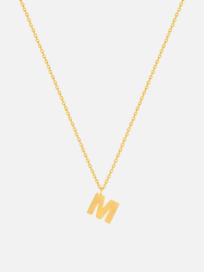 18ct Gold Initial Necklace, Dainty Initial Pendant, Gold Capital Letter Personalised Necklace - Muchv Jewellery