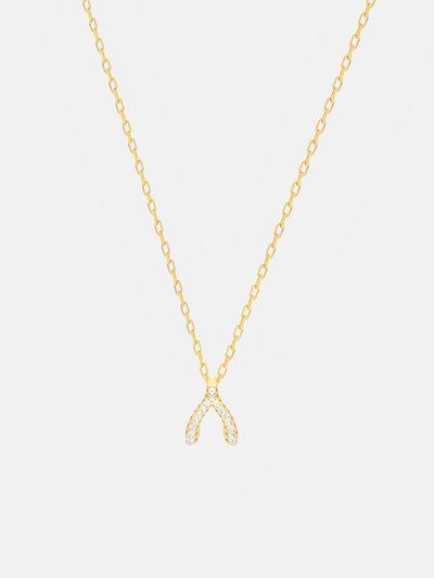18ct Gold Wishbone Necklace, Sparkling Pave Wishbone, Small Pendant Good Luck Necklace, Gift For Her (Gold Plated 925 Sterling Silver) - Muchv Jewellery