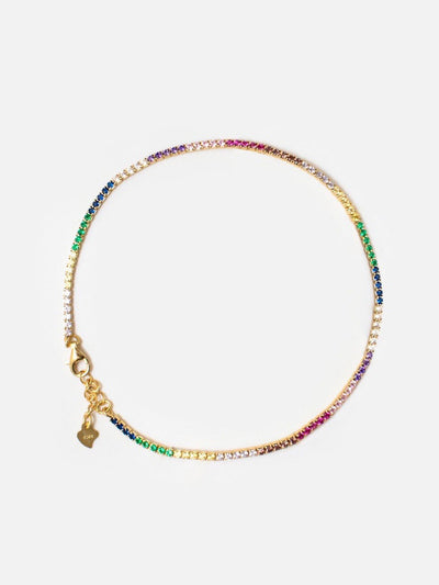 18ct Gold Rainbow Anklet, Colourful Rainbow Anklet, Cubic Zirconia Tennis Anklet (925 Sterling Silver) - Muchv Jewellery