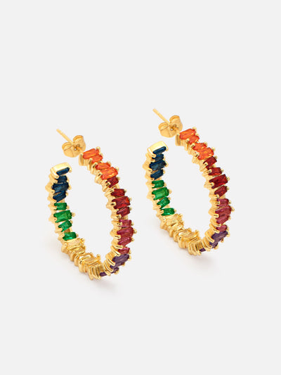 Gold Rainbow Earrings, Large Rainbow Hoops, Colourful Hoop Earrings - Rainbow Jewellery - Muchv Jewellery