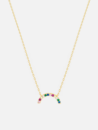 14ct Gold Rainbow Necklace, Dainty Gold Rainbow Necklace, Small Pendant Jewellery (925 Sterling Silver) - Muchv Jewellery