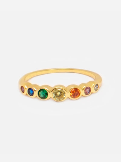 14ct Gold Rainbow Ring, Thin Gold Ring, 7 Stone Ring, Dainty Round Stone Gold Ring Band, Rainbow Jewellery by MUCHV - Luxury Women's Jewellery Gift For Her by Muchv Jewellery - muchvjewellery.com