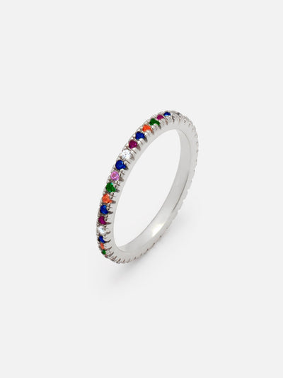 18ct White Gold Rainbow Ring, 2mm Thin Silver Ring, Dainty Rainbow Ring Band, Multicoloured Stones, Stacking Eternal Ring by MUCHV (18ct White Gold Plated 925 Sterling Silver) - Muchv Jewellery