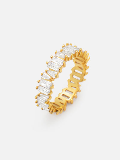 18ct Gold Ring Baguette Cut, Cubic Zirconia Stack Ring, Gold Stacking Eternity Band Size US 5, 6, 7, 8 - Muchv Jewellery (925 Sterling Silver) - Muchv Jewellery