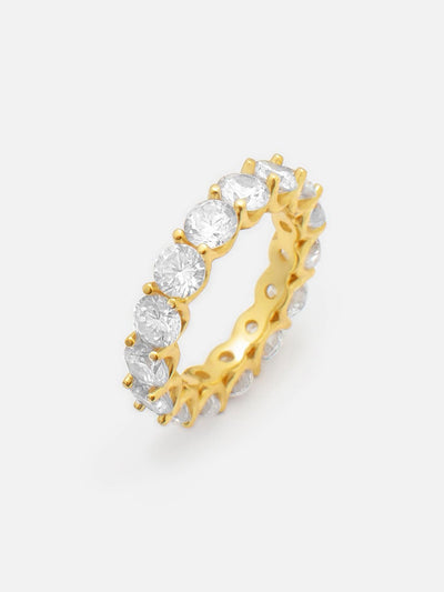 18ct Gold Round Eternity Ring, Floating Zirconia Stacking Full Eternity Ring, Stackable Sparkling CZ Promise Ring (925 Sterling Silver) - Muchv Jewellery