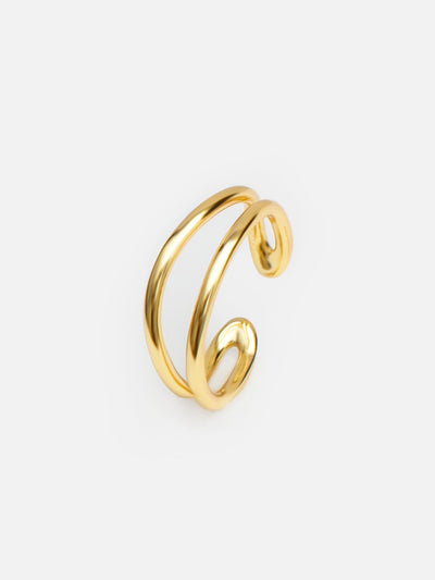 18ct Gold Adjustable Wave Ring, Double Cuff Ring, Open Gold Ring, Stacking Minimalist Rings (925 Sterling Silver) - Luxury Women's Jewellery Gift For Her by Muchv Jewellery - muchvjewellery.com
