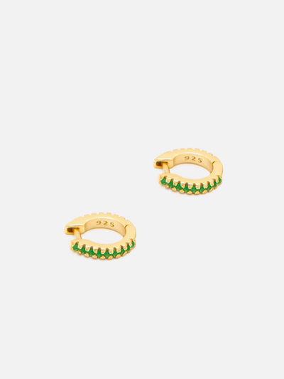 18ct Gold Tiny Helix Hoops, Emerald Green Helix Ring, Gold Tragus Hoop, Minimal Hugger Earrings, Green Stone Helix Huggie Hoops - Muchv Jewellery