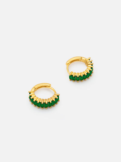 18ct Gold Green Baguette Hoops, Small Emerald Green Huggie Hoop Earrings, Dainty Lobe Helix Hoops with Green Baguette Stones (18ct Gold Plated 925) - Muchv Jewellery