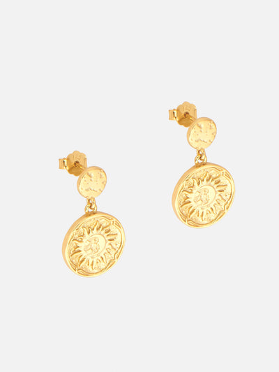 18ct Gold Sun Coin Earrings, God of Sun Dangle Studs, Coin Charm Statement Earrings (Gold Plated 925 Sterling Silver) - Muchv Jewellery