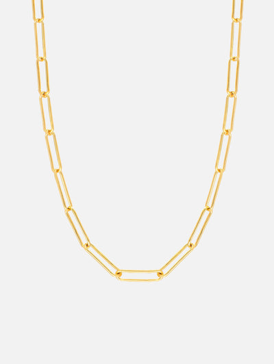 18ct Gold Link Chain Necklace, Thin Paperclip Solid Chain Necklace or Choker, Dainty Womens Chain (Yellow Gold Plated 925 Sterling Silver) - Muchv Jewellery