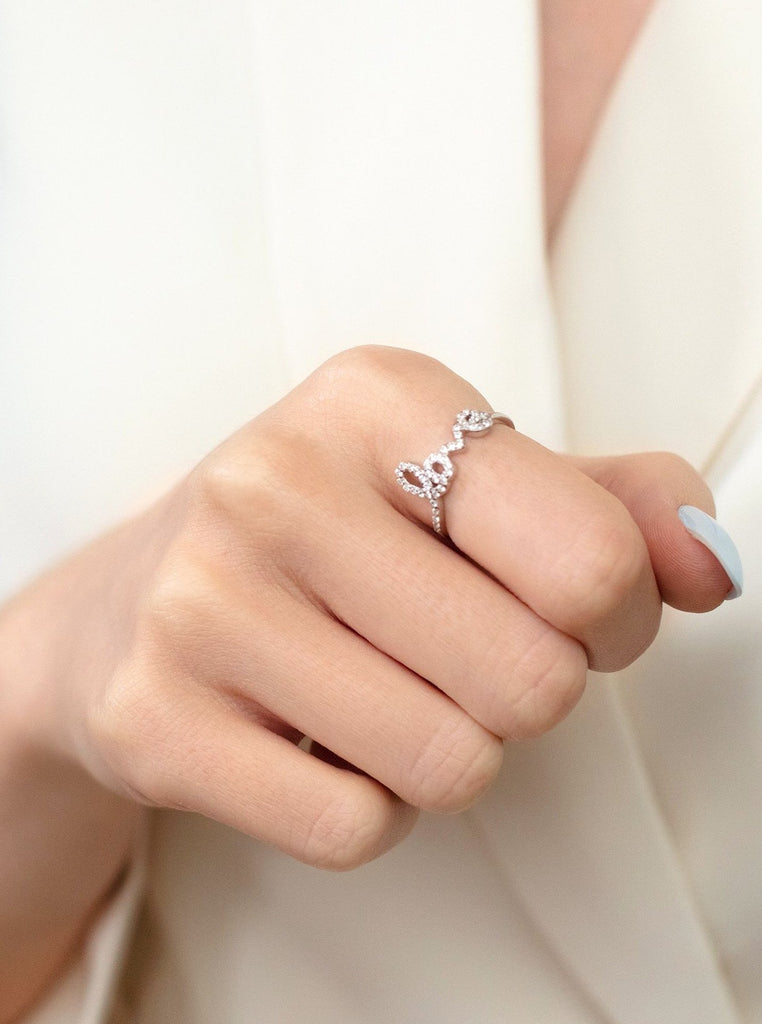Love Ring, Sterling Silver Ring, Promise Ring, Crystal Ring, Valentine's Day Gift, Stacking Dainty Stone Ring, Ring Gift For Her - Christmas Jewellery Gift For Her by Muchv Jewellery - Much Five