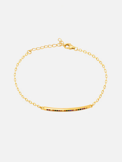 18ct Gold Rainbow Bar Bracelet, Colourful Bar Bracelet, Dainty Chain Rainbow Jewellery For Women (Yellow Gold Plated 925 Sterling Silver) - Muchv Jewellery