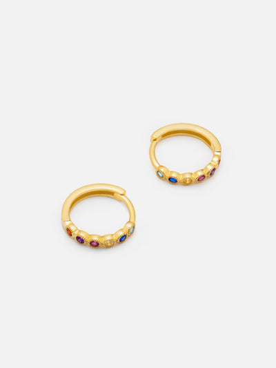 18ct Gold Rainbow Huggie Hoops, Gold Rainbow Hoops, Small Rainbow Earrings by MUCHV (925 Sterling Silver) - Muchv Jewellery