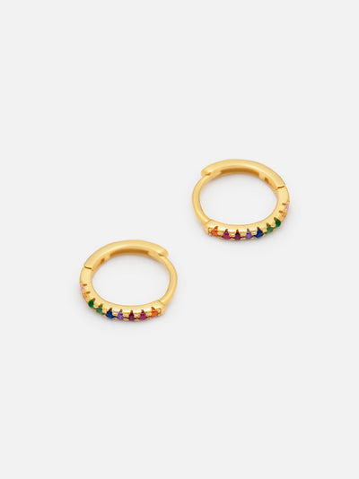 18ct Gold Rainbow Huggie Hoops, Thin Gold Hoop Earrings, Dainty Colourful Earrings (925 Sterling Silver) - Muchv Jewellery