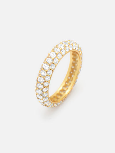 18ct Gold Pave Dome Ring, Thin Gold Stacking Ring, Sparkling Eternity Band (Gold Plated 925 Sterling Silver) - Muchv Jewellery