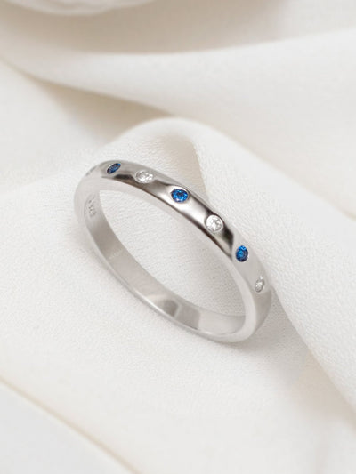 Sapphire Ring, Sterling Silver Ring Band, Sapphire Jewellery, Sapphire Birthstone Ring, Half Eternity Stacking Ring - Muchv Jewellery