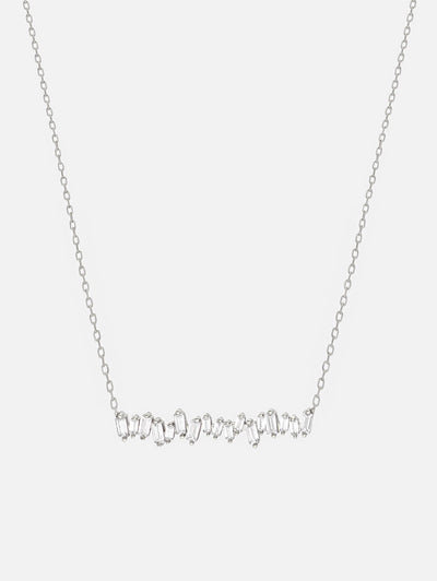 18ct White Gold Baguette Necklace, Silver Bar Necklace, Baguette Cut Sparkling Necklace - Cubic Zirconia Jewellery (925 Sterling Silver) - Muchv Jewellery