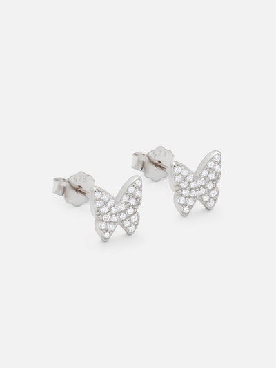 18ct White Gold Small Butterfly Stud Earrings, Dainty Silver Butterfly Studs, Zirconia Butterfly Jewellery (925 Sterling Silver) - Muchv Jewellery