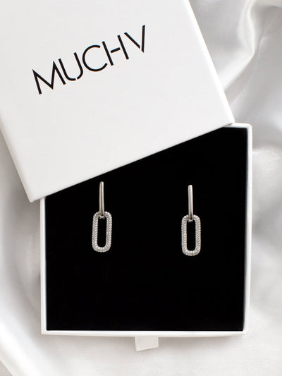 18ct White Gold Link Hoops, Double Chain Silver Earrings, Removable Charm Drop Hoops, Rectangular Hoop Earrings (18ct White Gold Plated 925) - Muchv Jewellery