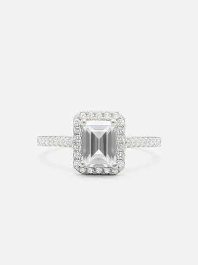 Silver Emerald Cut Ring, Sterling Silver Promise Ring, Emerald Ring, Cocktail Ring - Jewellery Gift For Her - Muchv Jewellery