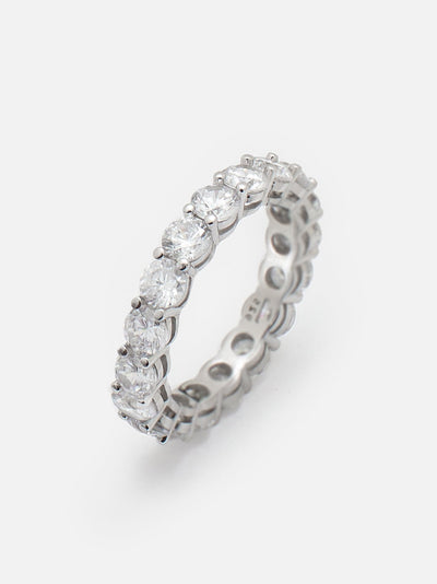 4mm Round Eternity Ring Sterling Silver, Stacking Ring, Round Eternity Band, Dainty Promise Ring - Muchv Jewellery