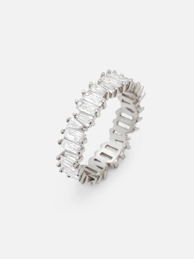 18ct White Gold Baguette Ring For Women, Silver Eternity Ring, Stacking Ring, Layer Ring Jagged Silver Baguette Band Ring (925 Sterling Silver) - Muchv Jewellery