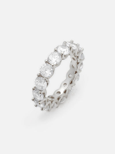 18ct White Gold Round Eternity Ring, Full Eternity Stacking Floating Zirconia Ring, Stackable Sparkling Promise Ring Band (925 Sterling Silver) - Muchv Jewellery