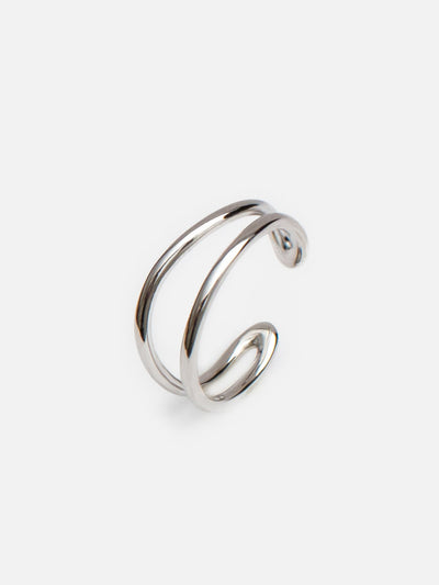 18ct White Gold Wave Ring, Adjustable Double Wave Ring, Open Silver Cuff Ring, Stacking Minimalist Rings (925 Sterling Silver) - Luxury Women's Jewellery Gift For Her by Muchv Jewellery - muchvjewellery.com
