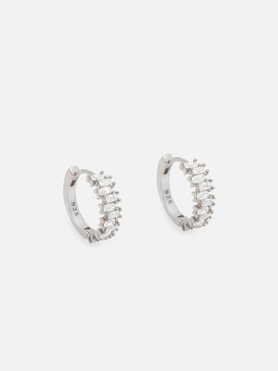 18ct White Gold Baguette Hoop Earrings, 1.4cm Silver Huggie Hoops, Dainty Lightweight Hoops with Jagged Baguette Stones (925 Sterling Silver) - Muchv Jewellery
