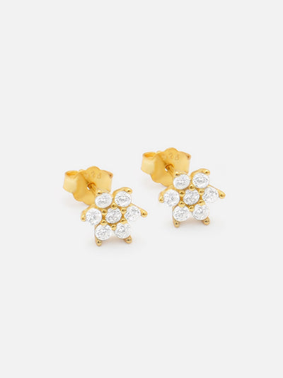 18ct Gold Small Flower Stud Earrings, Sparkling Crystal Flower Studs (925 Sterling Silver) Cartilage - Helix - Tragus Studs - Muchv Jewellery