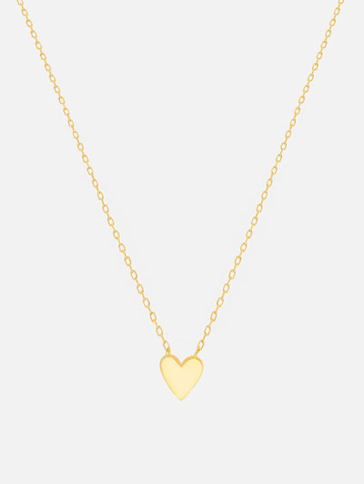 18ct Gold Heart Pendant Necklace, Gold Small Heart Necklace, Gold Chain Layering Necklace Women's Gift (925 Sterling Silver) - Muchv Jewellery