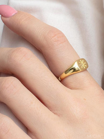 Gold Star Signet, Thin Gold Ring, Small Signet Ring With Star, Statement Signet Starburst Ring, Star Jewellery - Luxury Women's Jewellery Gift For Her by Muchv Jewellery - muchvjewellery.com
