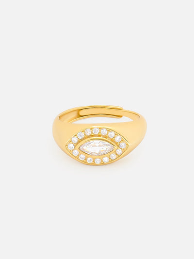 18ct Gold Evil Eye Signet, Adjustable Gold Ring, Thick Statement Signet, Evil Eye Jewellery (Yellow Gold Plated 925 Sterling Silver) - Muchv Jewellery