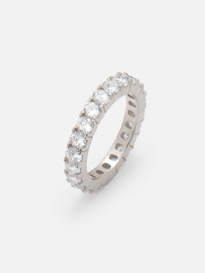 Dainty Silver Eternity Ring, 925 Sterling Silver Ring, Thin Stacking Ring, Cubic Zirconia Promise Ring, Stackable Eternity Ring - Muchv Jewellery