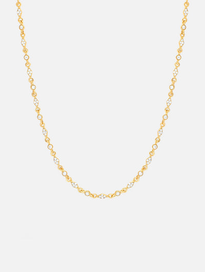 18ct Gold Choker Necklace, Gold Bezel Chain Choker Womens, White Zirconia Stone Layering Choker (925 Sterling Silver) - Muchv Jewellery