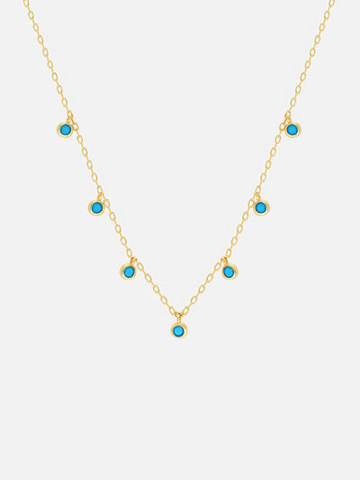 18ct Gold Turquoise Dangle Choker or Necklace, Bezel Blue Charms, Gold Layering Chain Necklace, Turquoise Jewellery (Gold Plated 925 Sterling Silver) - Muchv Jewellery