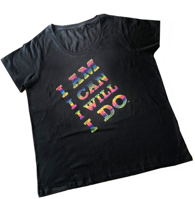Black Plus Size Tee with Rainbow Foil - Christinedercole.com