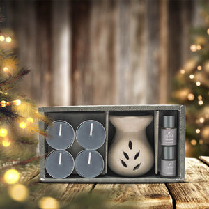 AuraDecor AromaTheraphy Gift Set with 4 Tealight & 2 , 5ml Aroma Oil
