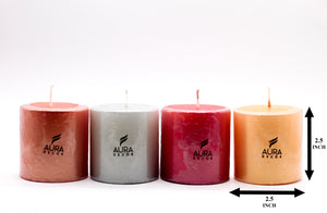 Set of 4 Metallic Pillar Candles - auradecor.co.in
