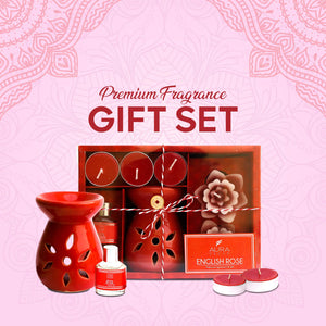 AuraDecor Aromatheraphy Diffuser Gift Set with 4 Tealights & 2 Aroma Oil & 2 Floating Candles