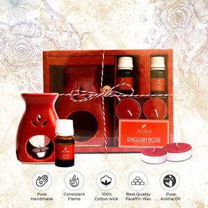 AuraDecor Aromatheraphy Diffuser Gift Set with 4 Tealights & 2 Aroma Oil