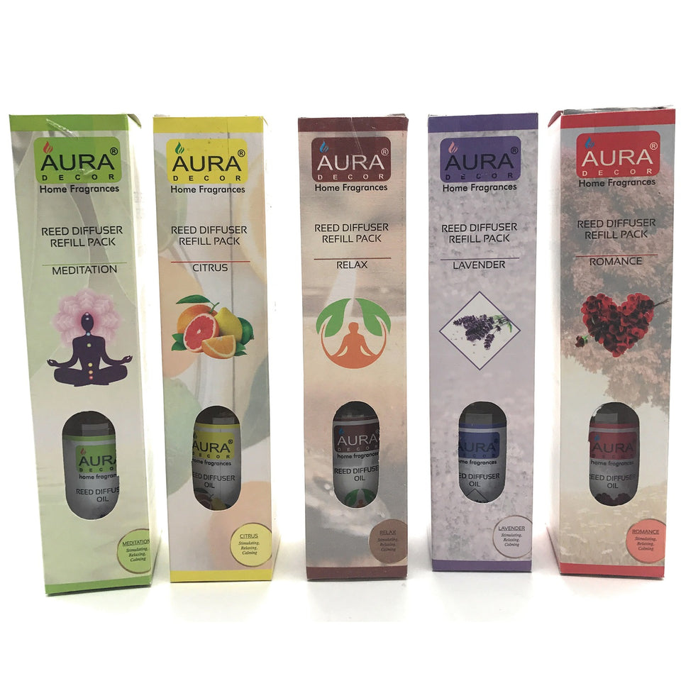 AuraDecor Set of 5 Reed Refill Pack 100 ml Each ( Lavender, Romance, Meditation, Relax, Citrus ) - auradecor.co.in