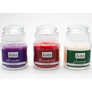 Pack of 3 Fragrance Jar Candles Jasmine, Lavender & Strawberry - auradecor.co.in