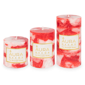 English Rose Fragrance Chunk Pillar Candle ( 3*3, 3*4, 3*6 inch )