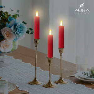 AuraDecor Set of 3 Pillar Candles ( 6*1.5 inch , Burning Time 15 hours Each )