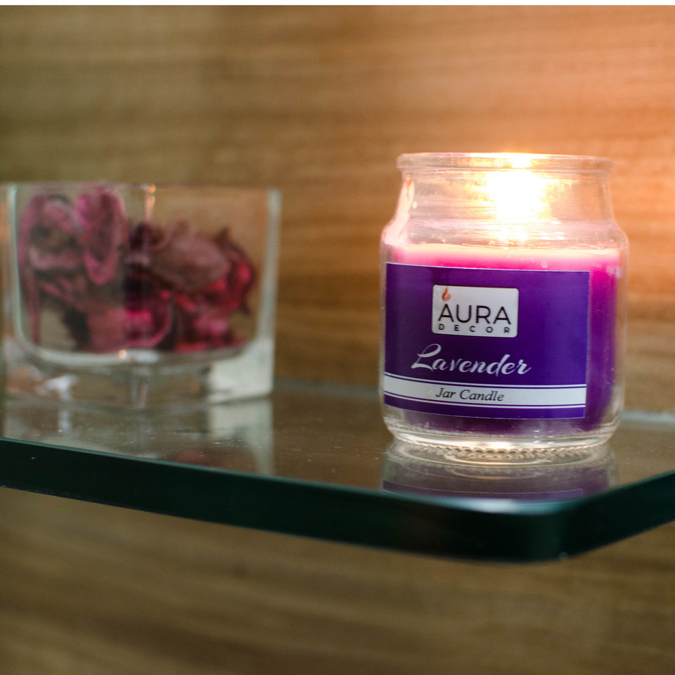 AuraDecor Buy 1 Get 1 Free Lavender Fragrance Jar Candle  ( Burning Time 30 Hours Each ) - auradecor.co.in