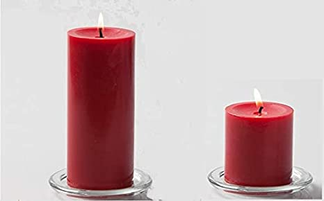 Set of 2 Rose Fragrance Pillar Candles ( 3 & 6 Inch )