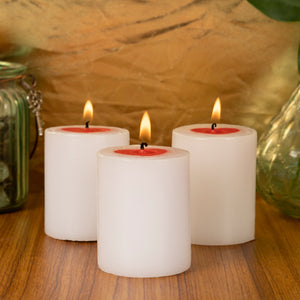 AuraDecor Set of 3 Valentine Pillar Candles ( Heart Design )