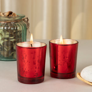 AuraDecor Set of 2 Red Mercury Glass Votive Candles