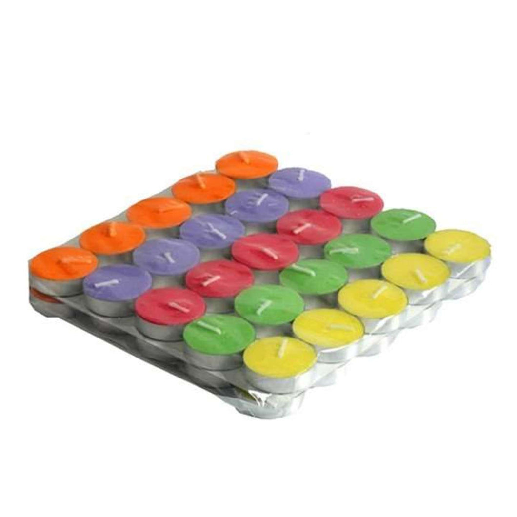 AuraDecor Set of 50 Unscented Smokeless Multi color Tealight Candles - auradecor.co.in